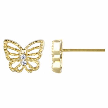 Mimi's Goldtone and CZ Pave Butterfly Stud Earrings