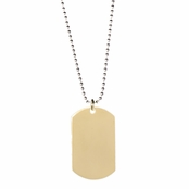 Carlos' Gold Plated Stainless Steel Dog Tag Necklace - 24 inches