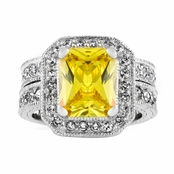 Gwendolyn's Cushion Cut Citron Antique Wedding Ring Set