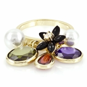 Gypsy's Imitation Pearl & CZ Charm Ring Final Sale