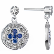 Hadley's Simulated Sapphire and CZ Round Dangle Earrings