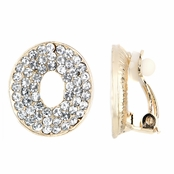 Hailey's Fancy Gold Tone Rhinestone Oval Clip On Earrings