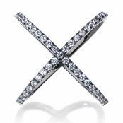 Halina's Gunmetal Simulated Diamond Cross Cocktail Ring