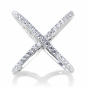 Halina's Sterling Silver Simulated Diamond Cross Cocktail Ring