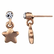 Hallie's Petite Rose Gold Tone Star Dangle Earrings