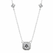 Hanako's Princess Cut CZ Vintage Necklace