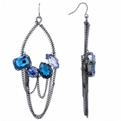 Hanniti's Blue Urban Chain Link Hoop Earrings
