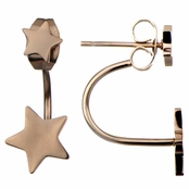 Harmen's Rose Gold Double Star Cuff Earrings