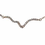Harper's Rose Gold CZ Curvy Bar Charm Necklace
