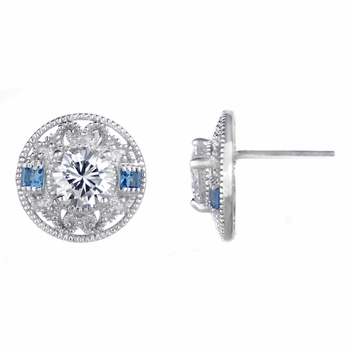 Harper's Blue Cubic Zirconia Antique Stud Earrings