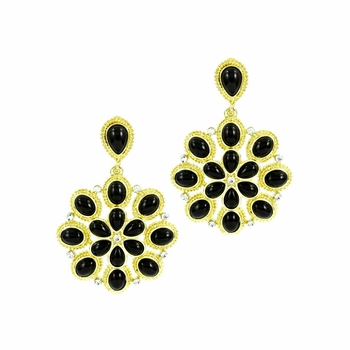 Hattie's Black & Goldtone Dangle Flower Earrings