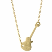Hattie's 18in Gold Sideways Guitar Charm Necklace