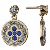 Hadley's Simulated Sapphire and CZ Round Gold Dangle Earrings