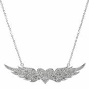 Hayley's Silvertone Flying Heart Pave CZ Angel wing Necklace