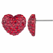 Nina's Red Rhinestone Heart Stud Earrings
