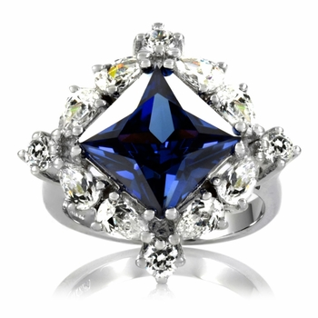 Heirloom Inspired Jewelry: Halimeda's Sapphire CZ Cocktail Ring