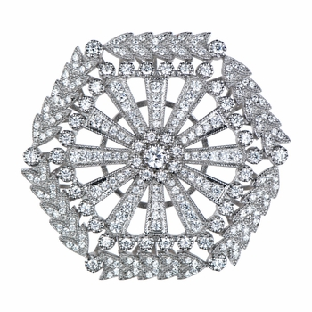 31mm Silvertone and CZ Art Deco Charm for Jewelry Making