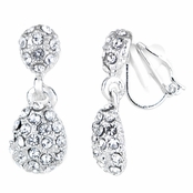 Hollie's Fancy Petite Rhinestone Teardrop Clip On Earrrings