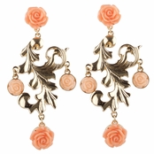 Honey's Goldtone and Pink Rose Chandelier Earrings