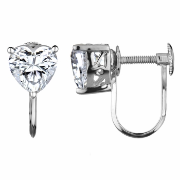 Honor's Screw Back Earrings - Heart CZ