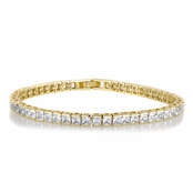 Imari's 7in Princess Cut Goldtone Cubic Zirconia Tennis Bracelet