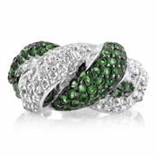 Snake Ring - Silvertone/Green - Comparable to Queen Victoria