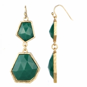 Irena's Green Stone Geometric Double Drop Earrings