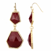 Irena's Red Geometric Double Drop Earrings