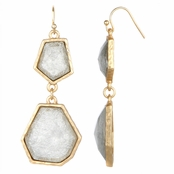 Irena's Silvertone Geometric Double Drop Earrings