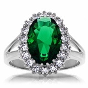 Iva's Oval Cut Green CZ Estate Cocktail Ring
