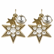 Ivory's Goldtone Rhinestone Starburst Dangle Earrings