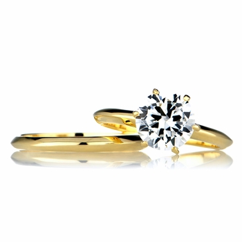 Jackie's 2 Carat Round Cut CZ Goldtone Wedding Ring Set
