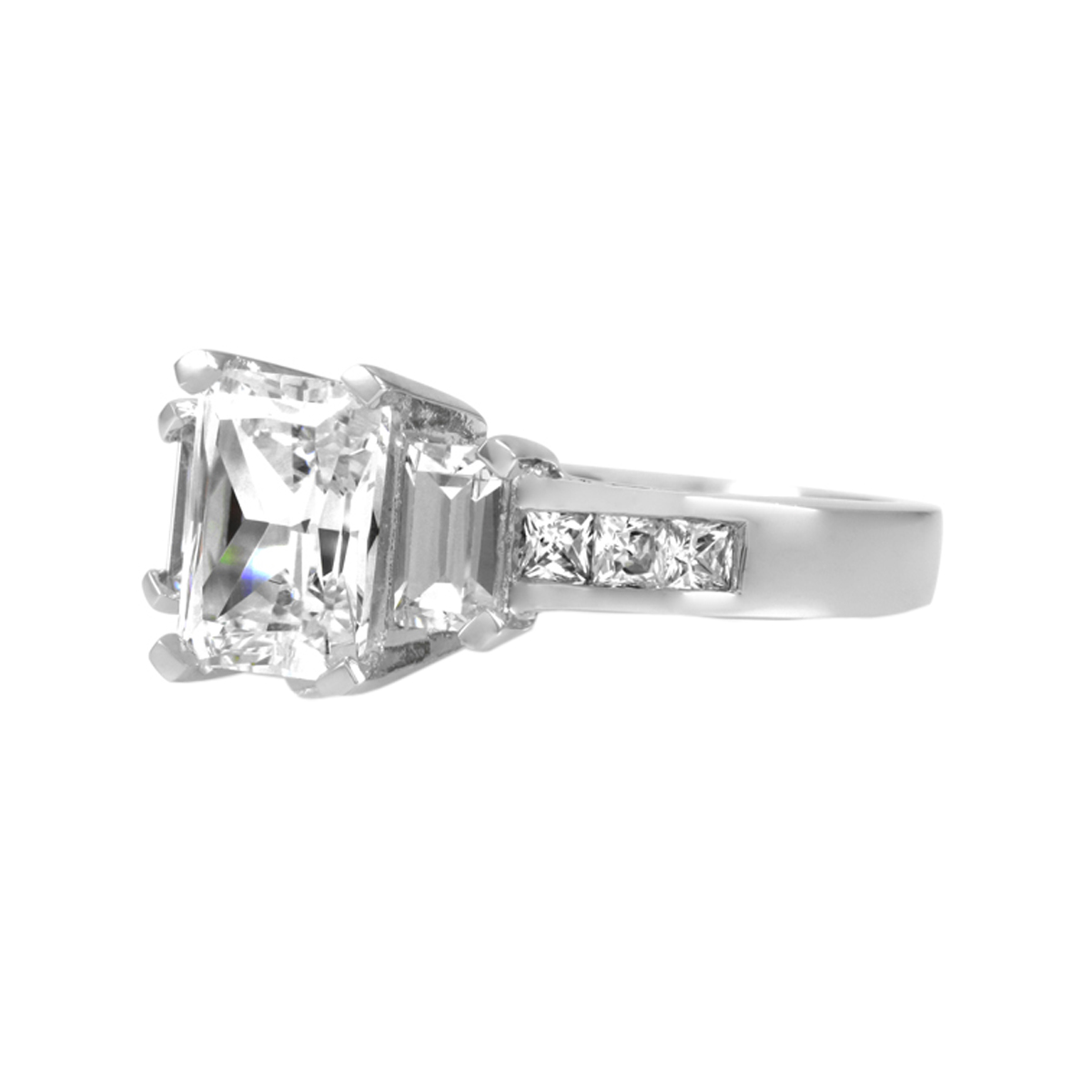 s cz emerald cut engagement ring 1 25ct