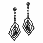 Jakia's Unique Black CZ Dangle Drop Earrings