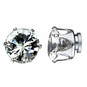 8mm Round Cut Cubic Zirconia Magnetic Stud Earrings
