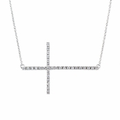Janaya's Faux Diamond Pave Sideways Cross Necklace