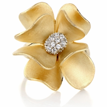 Janna's Flower Cocktail Ring - Gold Plated