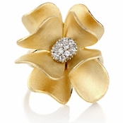 Janna's Flower Cocktail Ring - Goldtone