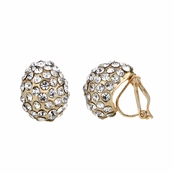 Jasmine's 15mm Gold Rhinestone Tear Drop Clip On Earrings