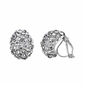 Jasmine's 15mm Silver Rhinestone Tear Drop Clip On Earrings