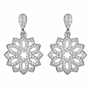 Jasmine's Vintage Cubic Zirconia Flower Dangle Earrings