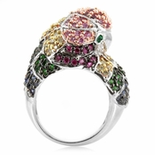 Jay's Parrot Cocktail Ring - Silver Tone