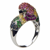 Jay's Silvertone Parrot Cocktail Ring