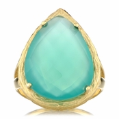 Jayde's Genuine Green Onyx Faceted Pear Cut Cocktail Ring - Gold