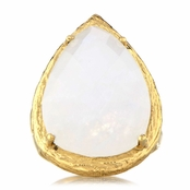 Jayde's Imitation Moonstone Faceted Pear Cut Cocktail Ring - Goldtone