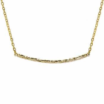 Jennifer's 18 inch Gold Hammered Bar Necklace