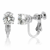 Jessica's 2 TCW Round Cut CZ Clip On Earrings - Screwvback