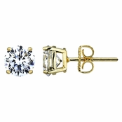 Jessica's 7mm Round Cut CZ Goldtone Stud Earrings - 2.5 TCW