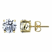 Jessica's 8mm Round Cut CZ Goldtone Stud Earrings - 4 TCW