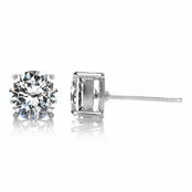 Jessica's Cubic Zirconia Silver Tone Stud Earrings - 2.5 TCW
